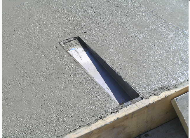 PA-12 in a form with wet concrete