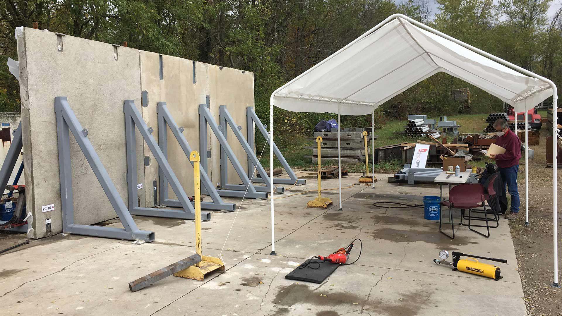 Testing site for precast concrete connection devices