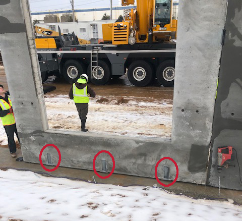 Northeast Precast Installation showing PC-10 connections